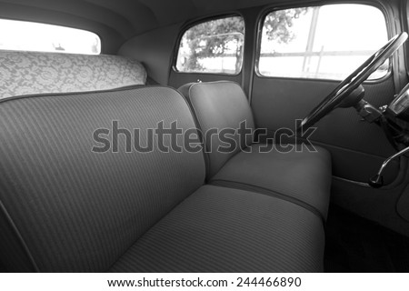 Interior of an old car - stock photo