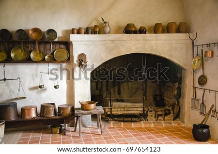 Interior old castle fireplace kitchen bauska stock photo royalty interior of an old castle with fireplace and kitchen bauska castletvia teraionfo