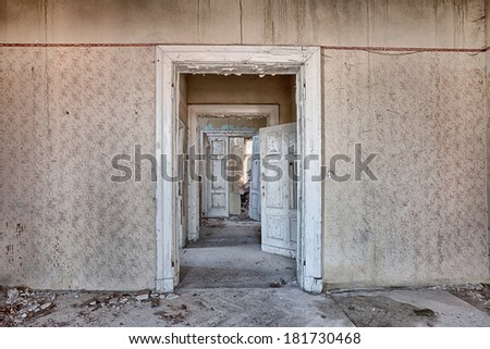 Interior of an old, ruined building - stock photo