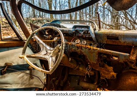 interior old rusty car abandoned new stock photo 273534479 shutterstock. Black Bedroom Furniture Sets. Home Design Ideas
