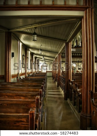 Interior of an old wood church - stock photo