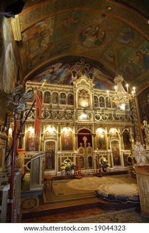 Interior of an Orthodox church in evening light - stock photo