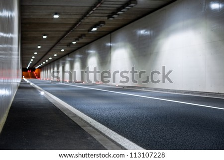 Interior of an urban tunnel without traffic from - stock photo