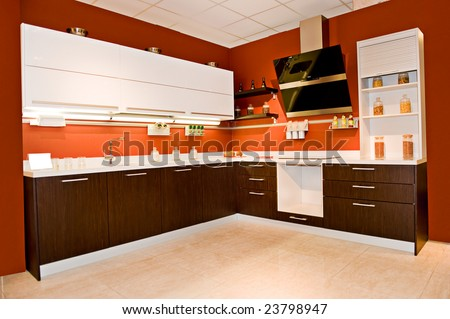 interior of angular modern furniture for a kitchen
