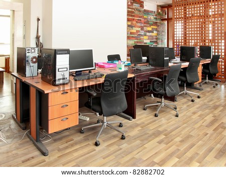interior of antique office work place - stock photo