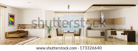 Interior of apartment kitchen dining room panorama 3d render - stock photo