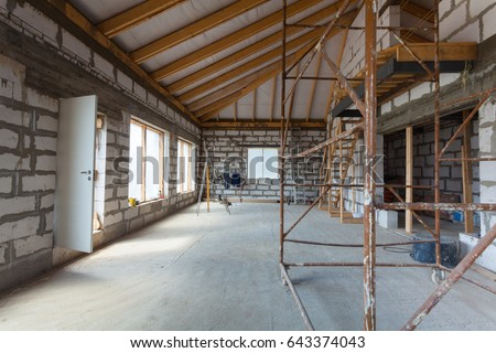 Awesome Interior Of Apartment With Ladders During Under Renovation, Remodeling And  Construction (preparing To Plaster
