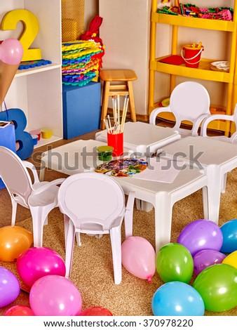 Interior of art class room in preschool  kindergarten. - stock photo