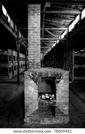 interior of Auschwitz barrack for prisoners - stock photo