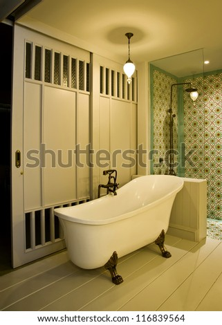 Interior of bath room in modern house,no brandnames or copyright - stock photo