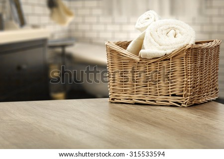 interior of bathroom and towels of white color  - stock photo