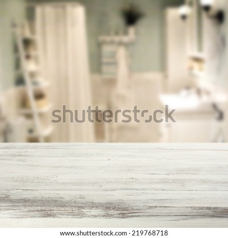 interior of bathroom in blue and white color and white board  - stock photo