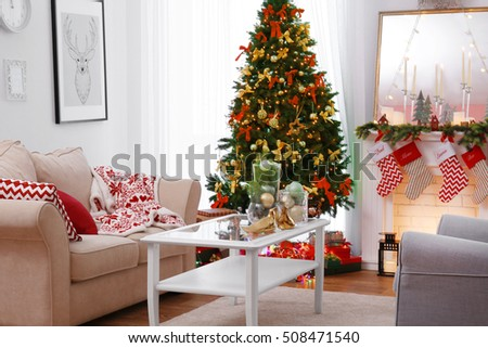 Interior Of Beautiful Living Room Decorated For Christmas Part 77