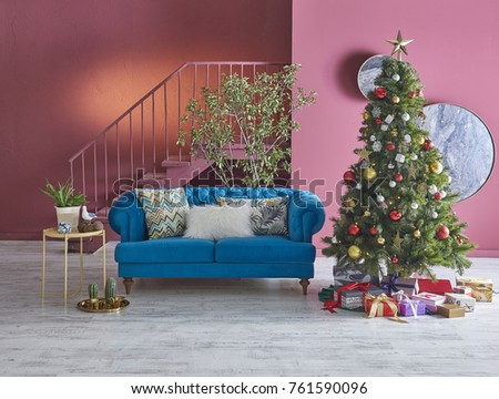 interior beautiful living room concept. Interior Of Beautiful Living Room Decorated For Christmas. Red Concept Decorative Christmas Tree O