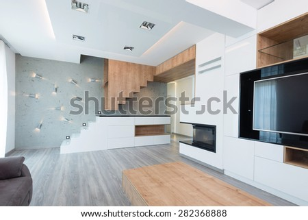 interior of beautiful modern living room - stock photo