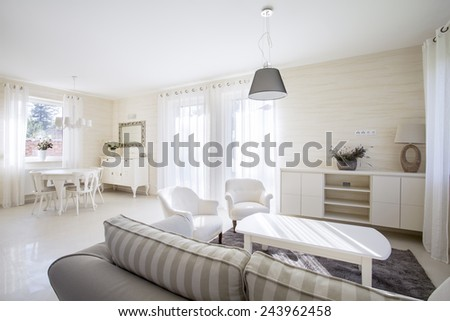 Interior of beauty drawing room with vintage elements - stock photo