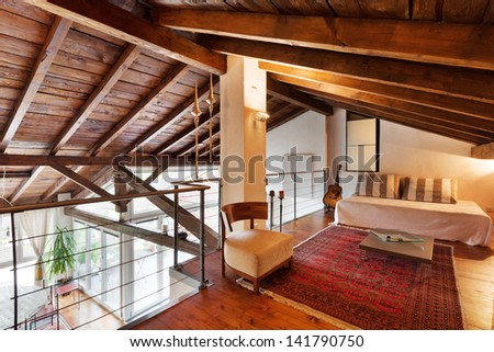 interior of beauty house, bed room - stock photo
