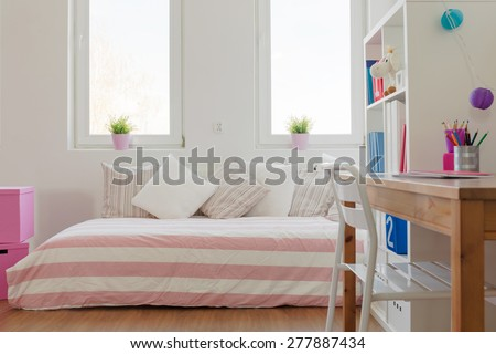 Interior of beauty pastel room for schoolchild - stock photo
