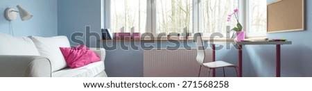Interior of beauty room for schoolgirl - panorama - stock photo