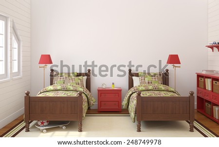 Interior of bedroom for two children. 3d render. - stock photo