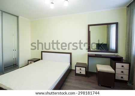 Interior of bedroom. Modern minimalism style bedroom interior - stock photo