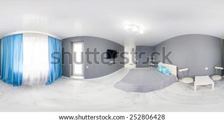 Interior of bedroom. Modern minimalism style bedroom interior in monochrome tones. Spherical Panorama 360 degree - stock photo