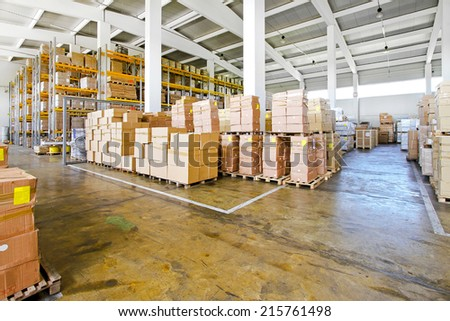 Interior of big warehouse with lot of boxes