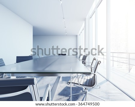 Interior of blank conference room with sun rays. White and modern office. 3d rendering - stock photo