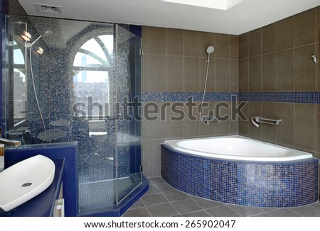 interior of bright and colorful european shower