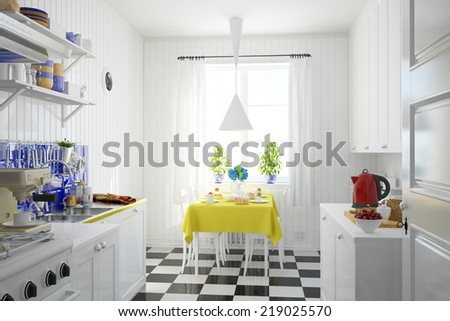 Interior of bright kitchen with breakfast on the table