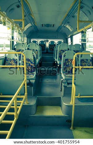 Interior of  bus, vintage color style - stock photo