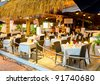 Interior of caribbean mexican restaurant - stock photo