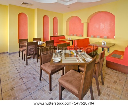 Interior of caribbean mexican traditional style  restaurant.