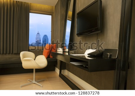 interior of chic hotel room, Thailand. - stock photo