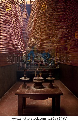 Interior of chinese Ong Temple in Can Tho, Vietnam