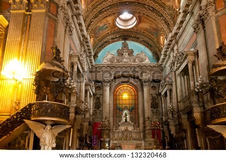 Interior of church Nossa Senhora da Candelaria in Rio de Janeiro - stock photo