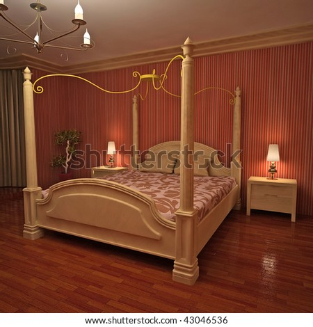 Interior of classic designed bedroom