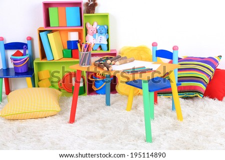 Interior of classroom at school - stock photo