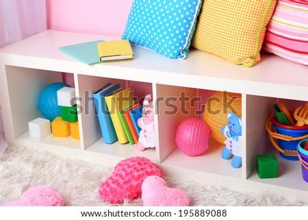 Interior of classroom in pink tones at school - stock photo