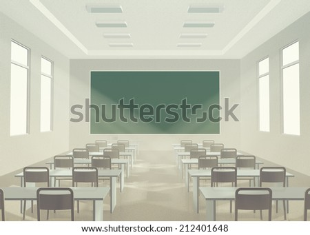 Interior of classroom. Modern light classroom without students with furniture and green chalkboard - stock photo