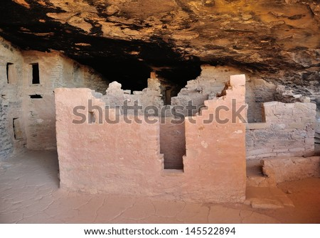 Interior of cliff dwelling in Mesa Verde National Park, Colorado, USA - stock photo
