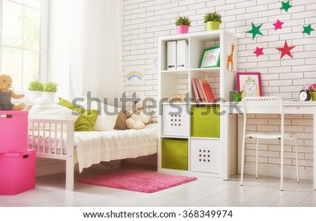 Interior of colorful bedroom for child girl - stock photo