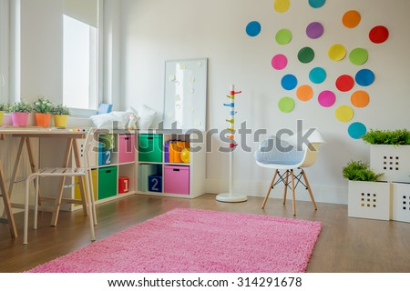 Interior of colorful playing room for toddler - stock photo