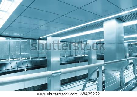 interior of contemporary airport - stock photo