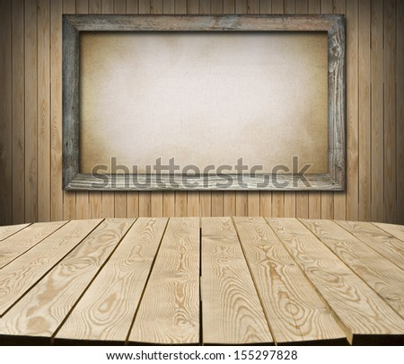 Interior of cottage room with empty tabletop and board for Your product advertisement - stock photo
