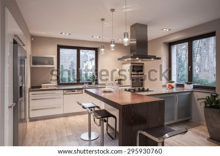 Interior of designed kitchen in modern house