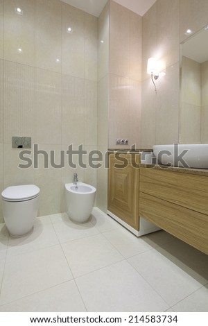 Interior of designer bathroom