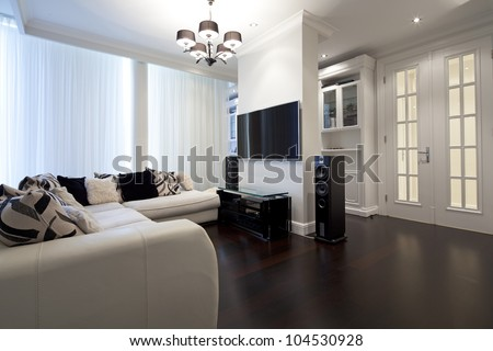 Interior of designer living room - stock photo