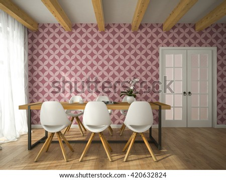Interior of dining room with vinous wallpaper 3D rendering  - stock photo