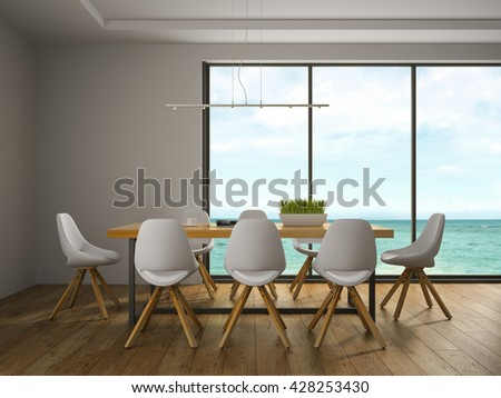 Interior of dining room with white chairs 3D rendering